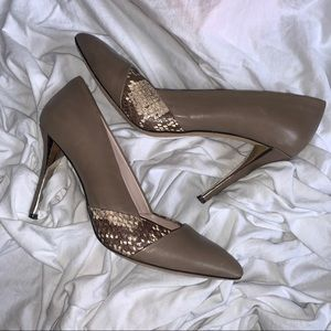 Vince Camuto Snakeskin Leather Pumps Taupe Fit sz7